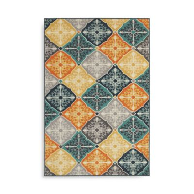 Oriental Weavers Hampton Tiles 6-Foot 7-Inch x 9-Foot 6-Inch Multicolor Area Rug