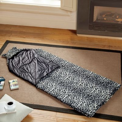 VCNY Heavenly Plush Snow Leopard Sleeping Bag in Tan