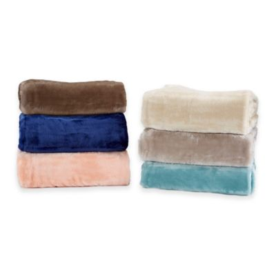 Ultra Plush Solid Reversible Throw in Coral