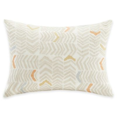 INK+IVY Lina Embroidered Oblong Throw Pillow in Cream