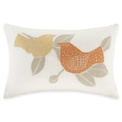 INK+IVY Paloma Embroidered Oblong Throw Pillow in Orange