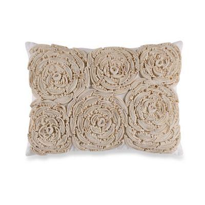 Sherry Kline Retreat Rosette Oblong Throw Pillow in Linen