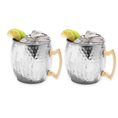 Hammered Moscow Mule Mugs in Stainless Steel (Set of 2)
