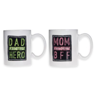 """Home Essentials & Beyond """"Dad A Son's First Hero"""" / """"Mom A Daughter's First BFF"""" Mugs (Set of 2)"""