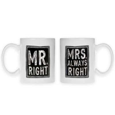 """Home Essentials & Beyond """"Mrs. Always Right"""" and """"Mr. Right"""" Mugs (Set of 2)"""