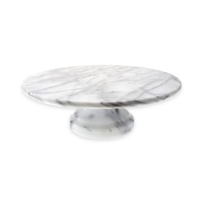 Evco International Marble Cake Plate in White