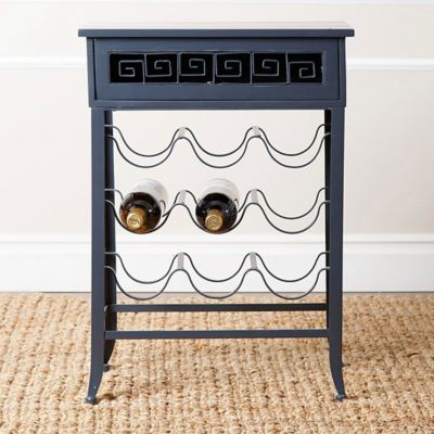 Abbyson Living Syrah Antiqued Blue Wine Rack Side Table