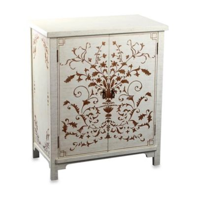 Abbyson Living® Antique Parmita Hand Painted Side Cabinet in White