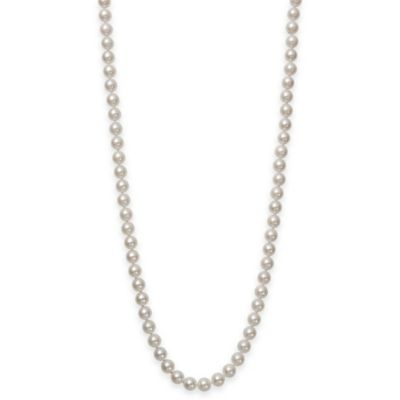 6.0-6.5mm Akoya Freshwater Cultured Pearl 20-Inch Strand Necklace with 18K White Gold Clasp