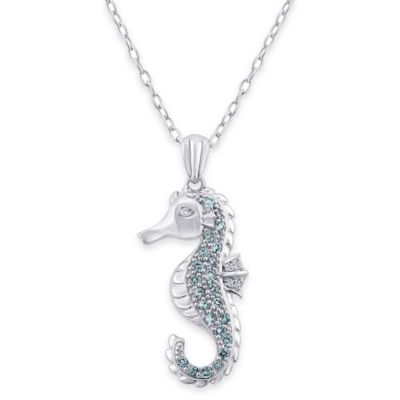 Sterling Silver .02 cttw Blue Topaz Seahorse 18-Inch Chain Pendant Necklace