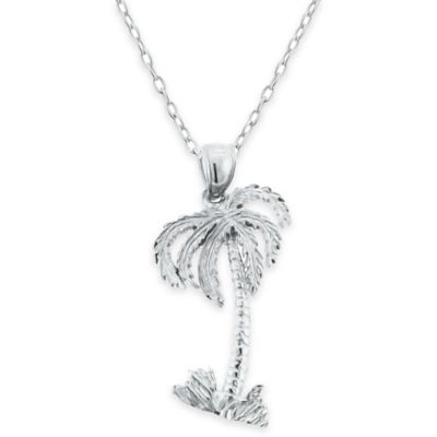 Sterling Silver 18-Inch Chain Palm Tree Pendant Necklace