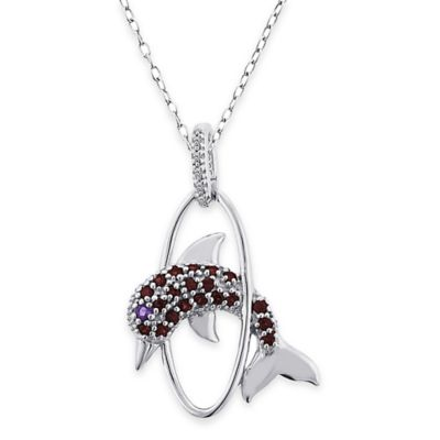 Sterling Silver .03 cttw Diamond, Garnet and Amethyst 18-Inch Chain Jumping Dolphin Pendant Necklace