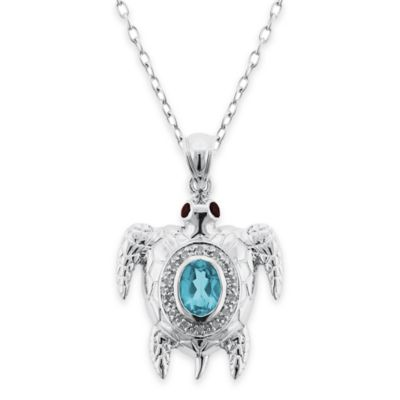 Sterling Silver Blue Topaz and Garnet Sea Turtle 18-Inch Chain Pendant Necklace