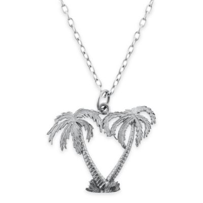 Sterling Silver 18-Inch Chain Double Palm Tree Pendant Necklace