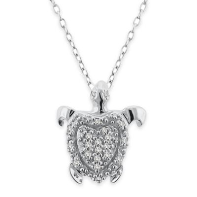 Sterling Silver .10 cttw Diamond 18-Inch Chain Turtle Pendant Necklace