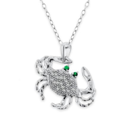 Sterling Silver .10 cttw Diamond and Emerald 18-Inch Chain Crab Pendant Necklace
