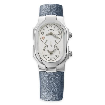 Philip Stein Ladies' 42 x 27mm Dual Time-Zone White Dial Watch in Stainless Steel with Leather Strap