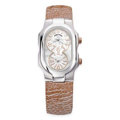 Philip Stein Ladies' 8-Shape Watch in Stainless Steel w/Mother of Pearl Dial and Champagne Strap