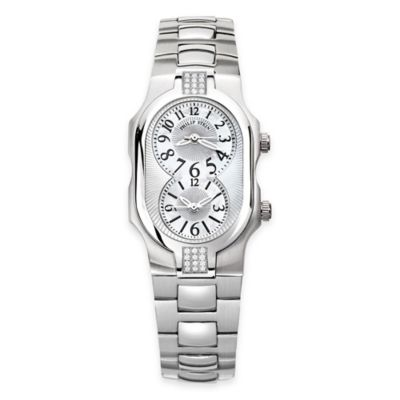 Philip Stein Ladies' 42mm Small Sport Diamond Signature Mother of Pearl Watch in Stainless Steel
