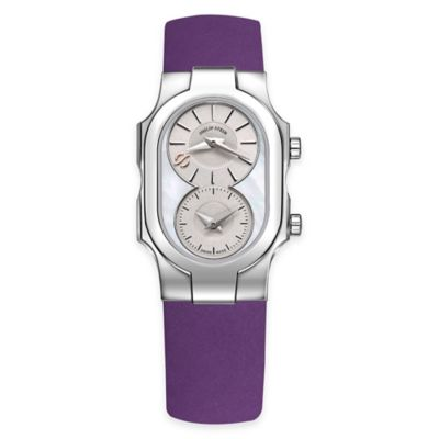 Philip Stein Ladies' 8-Shape Watch in Stainless Steel w/Mother of Pearl Dial and Purple Strap