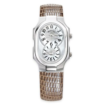 Philip Stein Ladies' 50mm Large Signature Mother of Pearl Watch in Stainless Steel w Leather Strap