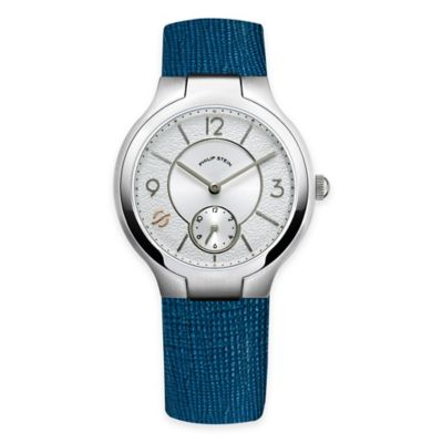 Philip Stein Ladies' 36mm Small Round White Dial Watch in Stainless Steel with Leather Strap