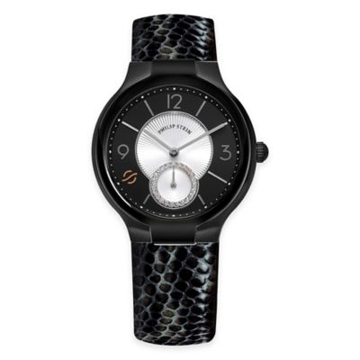 Philip Stein Ladies' 36mm Small Round Diamond Watch in Black PVD Stainless Steel with Leather Strap