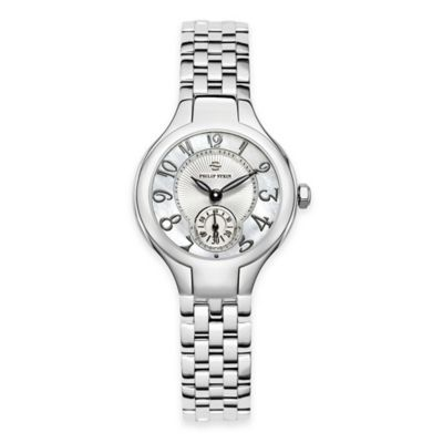 Philip Stein Ladies' 28mm Mini Round Mother of Pearl Watch in Stainless Steel