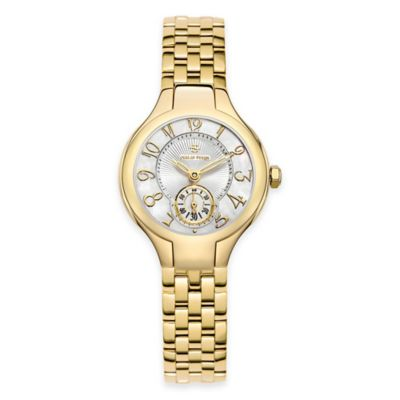 Philip Stein Ladies' 28mm Mini Round Mother of Pearl Dial in Gold-Plated Stainless Steel