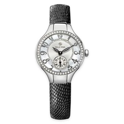 Philip Stein Ladies 28mm Mini Diamond Bezel Mother of Pearl Watch in Stainless Steel w Leather Strap