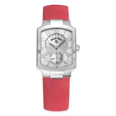 Philip Stein Ladies' 39mm Small Classic Mother of Pearl Watch in Stainless Steel with Leather Strap