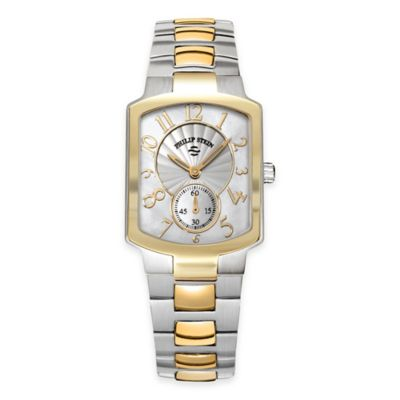 Philip Stein Ladies' 39mm Small Classic Goldtone Mother of Pearl Watch in Two-Tone Stainless Steel