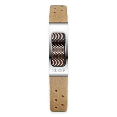 Philip Stein Slim Sleep Bracelet in Stainless Steel with Camel Microfiber Band