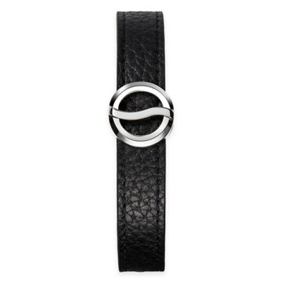 Philip Stein Stainless Steel Horizon Bracelet with Black Leather Strap