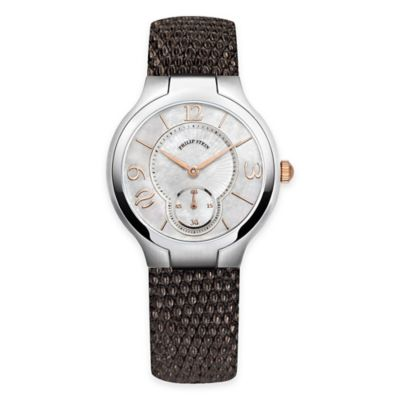 Philip Stein Ladies' 8-Shape Round Watch in Stainless Steel w/Mother of Pearl Dial and Brown Strap