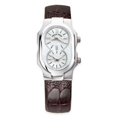 Philip Stein Ladies' 42mm Small Signature Mother of Pearl Watch in Stainless Steel w/Leather Strap