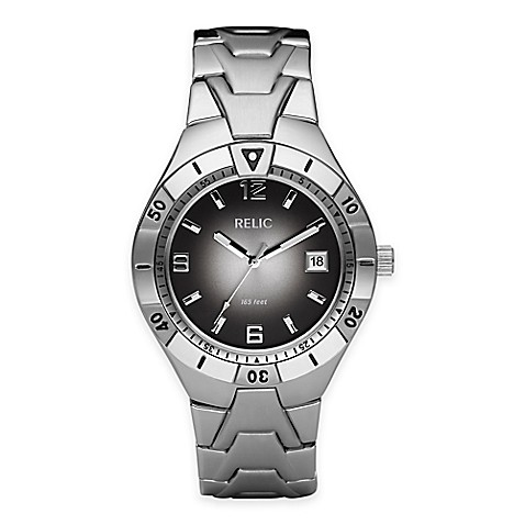 Relic vince men 39 s 40mm black gradient dial watch in silvertone stainless steel bed bath beyond for Gradient dial watch
