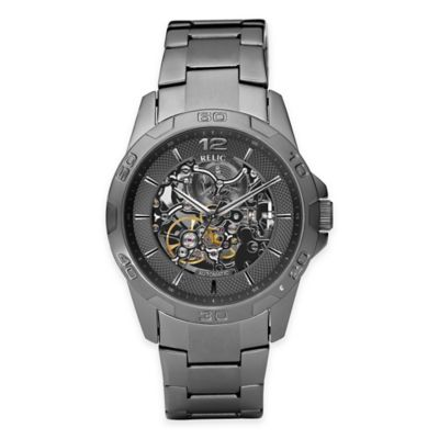 Relic® Skeleton Men's 42mm Automatic Exposed Gear Dial Watch in Gunmetal Stainless Steel