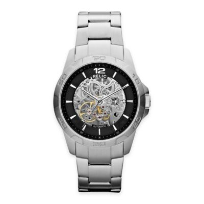 Relic® Skeleton Men's 42mm Automatic Exposed Gear Dial Watch in Silverone Stainless Steel