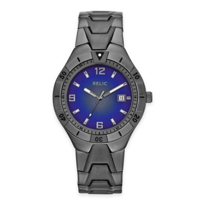 Relic® Vince Men's 41mm Blue Dial Watch in Gunmetal Stainless Steel