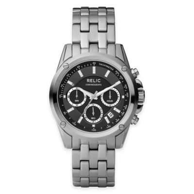 Relic® Grant Men's 40mm Black Dial Chronograph Watch in Stainless Steel