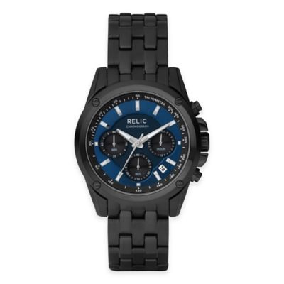 Relic® Grant Men's 40mm Blue Dial Chronograph Watch in Black Stainless Steel