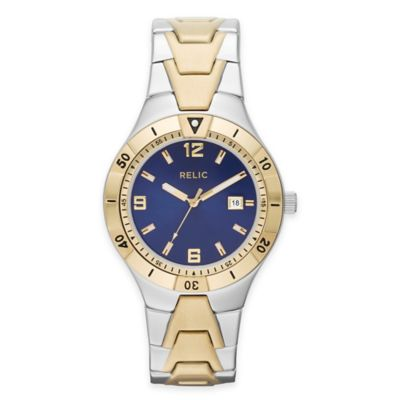 Relic® Vince Men's 41mm Blue Dial Watch in Two-Tone Stainless Steel