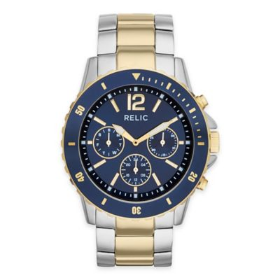 Relic® Jaxton Men's 46mm Blue Dial Multifunction Watch in Two-Tone Stainless Steel