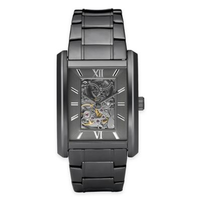 Relic® Allen Men's 36mm Rectangular Skeleton Dial Watch in Gunmetal Stainless Steel