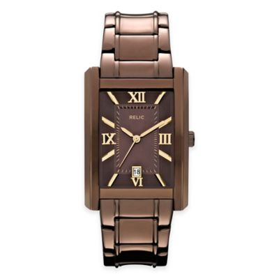 Relic® Allen Men's 31mm Rectangular Brown Dial Watch in Brown Ion-Plated Stainless Steel