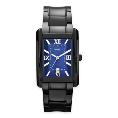 Relic® Allen Men's 32mm Rectangular Blue Dial Watch in Black Stainless Steel