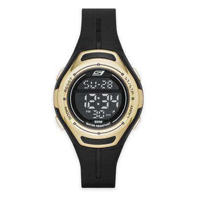 Skechers® Ladies' 34mm Gold Top Ring Digital Watch in Black Plastic w/Black Polyurethane Strap