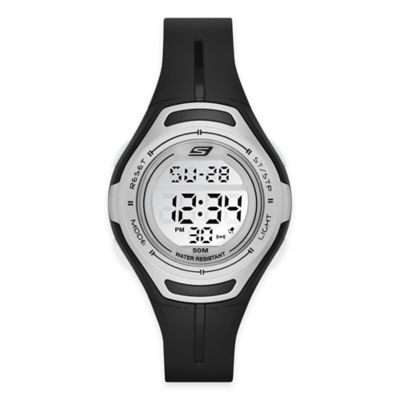 Skechers® Ladies' 34mm Silver Top Ring Digital Watch in Black Plastic w/Black Polyurethane Strap