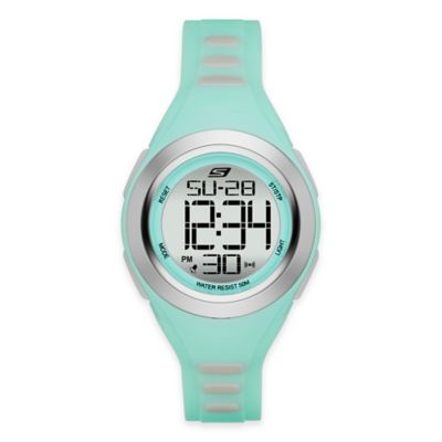 Skechers® Ladies' 33mm Grey-Accented Digital Watch in Mint Plastic with Mint Polyurethane Strap